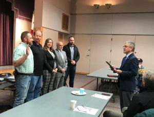 Stuart Tom – ICC Board of Directors – swearing in the 2020 Central Coast Chapter ICC Officers: Bruce St. John (Immediate Past President), Bill Fitzpatrick (President), Devon Kuhnle (Vice President), Rafael Cornejo (Treasurer), and Mark Sadowski (Secretary).